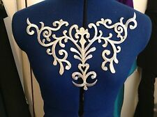 metallic Silver embroidery patch lace applique venise yoke dress dance costume