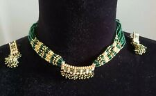 Indian Kundan Bridal Set Green Choker Necklace Earrings Jewelry