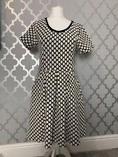 Womans Joanie Polka Dot Dress w/ Pockets Black & White Skater Rockabilly Size 16