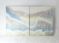 Vintage Original Modernist Abstract Diptych Painting on canvas Lee Reynolds Burr