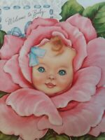 Vtg Welcome to BABY Peek Window PINK ROSE 1950s CONGRATS Fairfield GREETING CARD