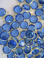34 Swarovski 11mm Round Crystal Sapphire Channels in Brass w/2 Loops - SS48