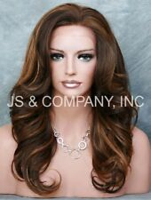 Brown Auburn mix HEAT SAFE Lace Front Wig Curly Long Layered NBY 4-28