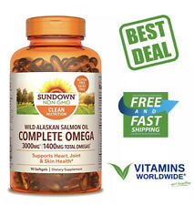 SUNDOWN COMPLETE OMEGA Wild Alaskan Salmon Oil Dietary Supplement 90 Softgels