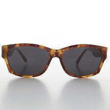 Sporty Wrap Rectangular Vintage Sunglass Brown Honey & Gray Lens-WILEY