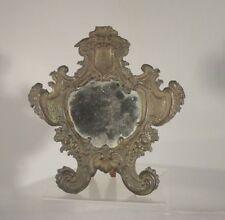 Antique Spanish Colonial Silverplate Mirror Wood Back Vanity Dresser