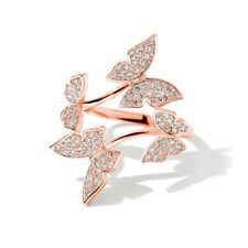 925 Silver,Gold,Rose Gold Rings Cubic Zirconia Butterfly Jewelry Size Adjustable