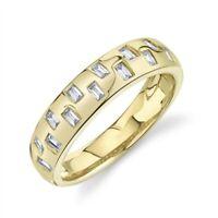 Womens 14K Yellow Gold Baguette Diamond Wedding Band Ring Size 7 Bezel Natural