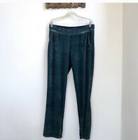 CHAMPION Women`s Terry Cloth Pants Launge pants Logo Spruce Pine Green Large