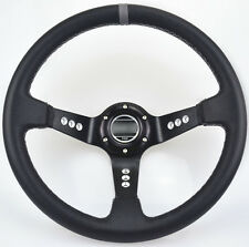"Racing Steering Wheel cover 14""/350mm Black PVC With Horn Button Brand New"