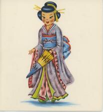 VINTAGE GEISHA GIRL JAPAN DOLL COSTUME PAPER PARASOL LITHO NOTE CARD ART PRINT