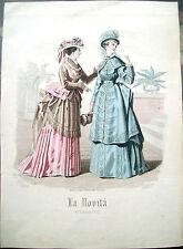 1873 INCISIONE MODA 'LA NOVITA' 17 luglio 1873' DI GANDIN