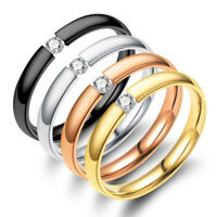 Men Size 5-13 Jewelry Solid Crystal CZ Wedding Band Couple Ring Stainless Steel