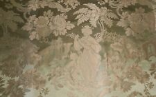 Antique French Chinoiserie Figural Pagoda Floral Silk Damask Fabric ~Sage Green