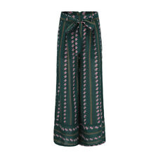 National Style Striped Printed Tie-Wrap Palazzo Pants - Green