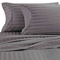 Wamsutta Damask Stripe 500-Thread-Count PimaCott Full Sheet Set Stripe Grey