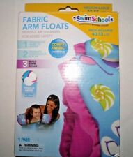 Swim School Fabric Arm Floats Medium/Large 40-55 lbs, Beach Pattern Pink Ruffles