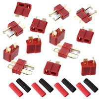 5 Paar T-Stecker T-Dean Stecker T-Plug T-Connector T-Deans + Schrumpfschlauch
