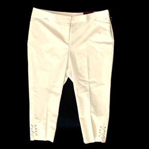 Rafaella Size 16 White High Rise Stretch Capri Pants