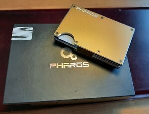 Men's Gold Pharos Minimalist Aluminum RFID Blocking Wallet Money Clip Strap