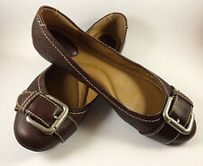 FOSSIL Maddox Brown Leather Ballet Dress Flats Buckle Shoes Size 11