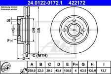 JH/_, JD VA 24.0122-0172.1 für FORD FIESTA V 2x ATE Bremsscheibe Vorderachse