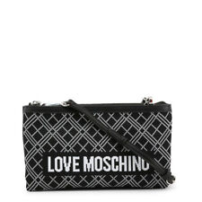 Love Moschino Bag Black White Logo Sporty Knit Clutch Removable Shoulder Strap