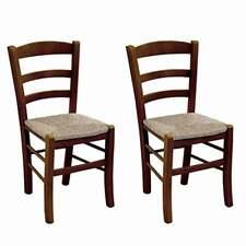 Sedia paesana coppia X 2 in legno con seduta in paglia noce scuro robusta