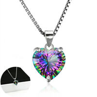Mystic Topaz Heart-shaped Chain Pendant 925 Rainbow Silver Necklace Jewelry Gift