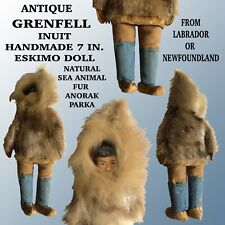 """ANTIQUE GRENFELL 7"""" INUIT HANDMADE DOLL W/ NATURAL FUR ANORAK PARKA & WOOD FACE"""