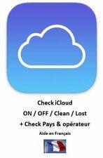 Check FMI Find My Iphone (CLEAN ou LOST) pour iCloud + blocage opérateur + pays