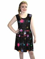 Multi Galaxy Planets Cosmos Skater Rockabilly Gathering Sleeveless Swing Dress
