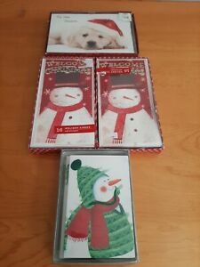 Christmas Card Lot 4 Boxes Unopened 65 Cards Snowman & Dogs