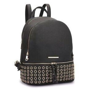 Dasein Black Faux Leather Backpack Grommets NWT