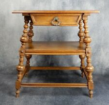 Antique, side table oak,continental style,two tier, drawer with brass handle