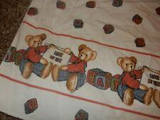 4B Vintage 30x40 Blue Jean Teddy Flannel Receiving Baby Crib Blanket Lovey