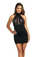 Axami. V-9149 dress schwarz, Schickes und erotisches Neckholderkleid. Größe L