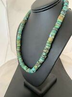 Navajo Native American Turquoise 10 mm Heishi Sterling Silver Bead Necklace 369