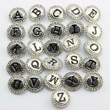 26pcs/lot 18mm Ginger Snap Buttons Alphabet A-Z Rhinestone Ginger Snaps Jewelry