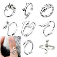 Charm 925 Sterling Silver Cat Band Open Knuckle Ring Women Party Wedding Jewelry