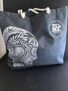 Mexican Sugar Skull Gray Beach Bag  NEW