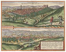 Eisenstadt Mannersdorf Austria bird's-eye view map Braun Hogenberg ca.1617