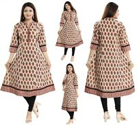 Women Indian Long Printed Cotton A-Line Anarkali Kurti  Kurta Dress NK07 PINK