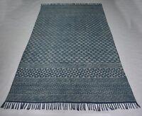Hand Woven Indigo Block Print Blue Color Area Rug Ikat Cotton Rug DN-996