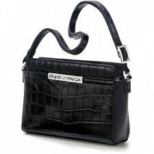 NWT Brighton Mingle SAM CROCO Shoulderbag Black Leather Handbag Purse MSRP $240