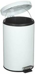 RUBBERMAID SMALL STEEL PEDAL BIN WITH PLASTIC LINER 3.5 GALLON / 13 LITRES WHITE