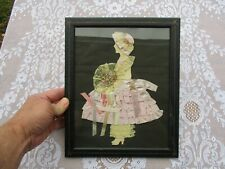Nice Vintage Ca. 1940's Folk Art Silhouette Decoupage Fabric Flower Girl