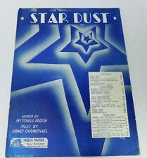 Star Dust Mitchell Parish Hoagy Carmichael Sheet music 5 Pages 1929