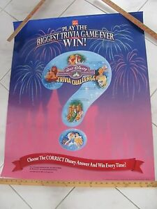 Disney McDonald's TRIVIA CHALLENGE CONTEST Poster - Good Condition/used in store