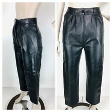 Vintage 1960's Women's Black Leather High Waist Pleated Cropped Pants